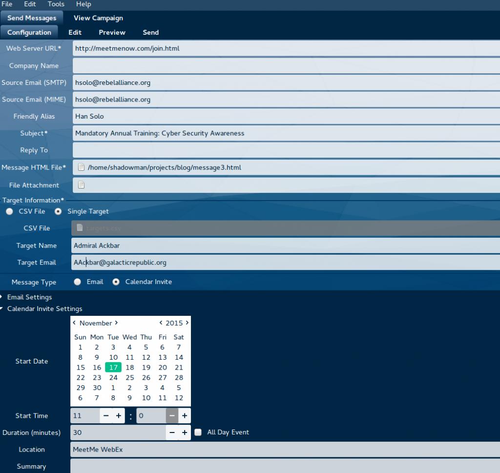 KingPhisher Calendar Invite Configuration