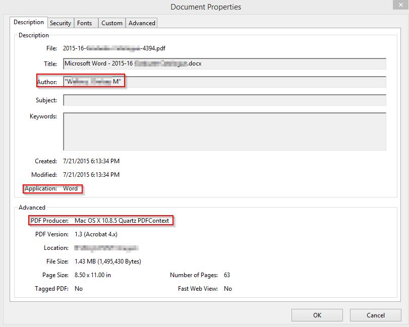 PDFs metadata